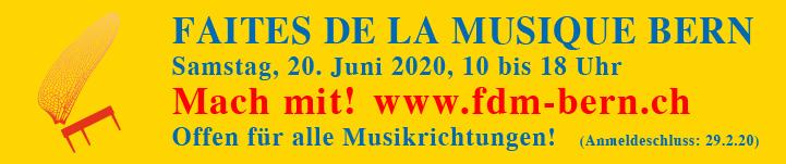 Faites de la Musique 2020_Ausschreibung